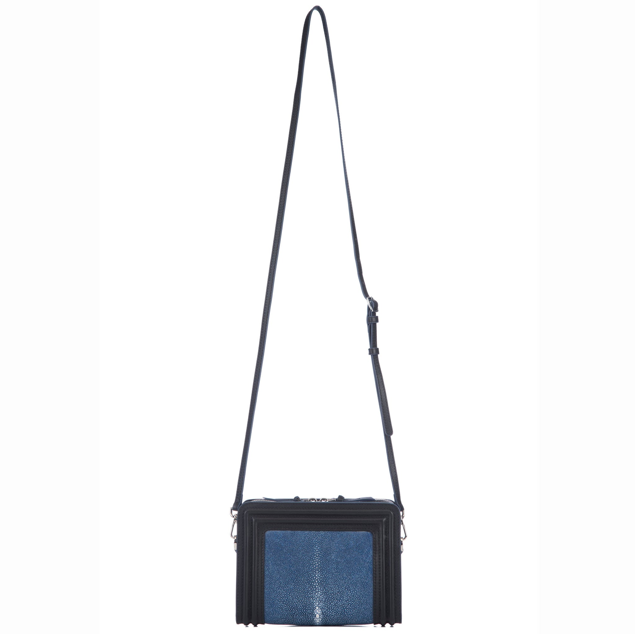 Black Corded Leather Frames Navy Stingray Double Zipper Top Cross Body Bag Shoulder Strap View Nora - Vivo Direct