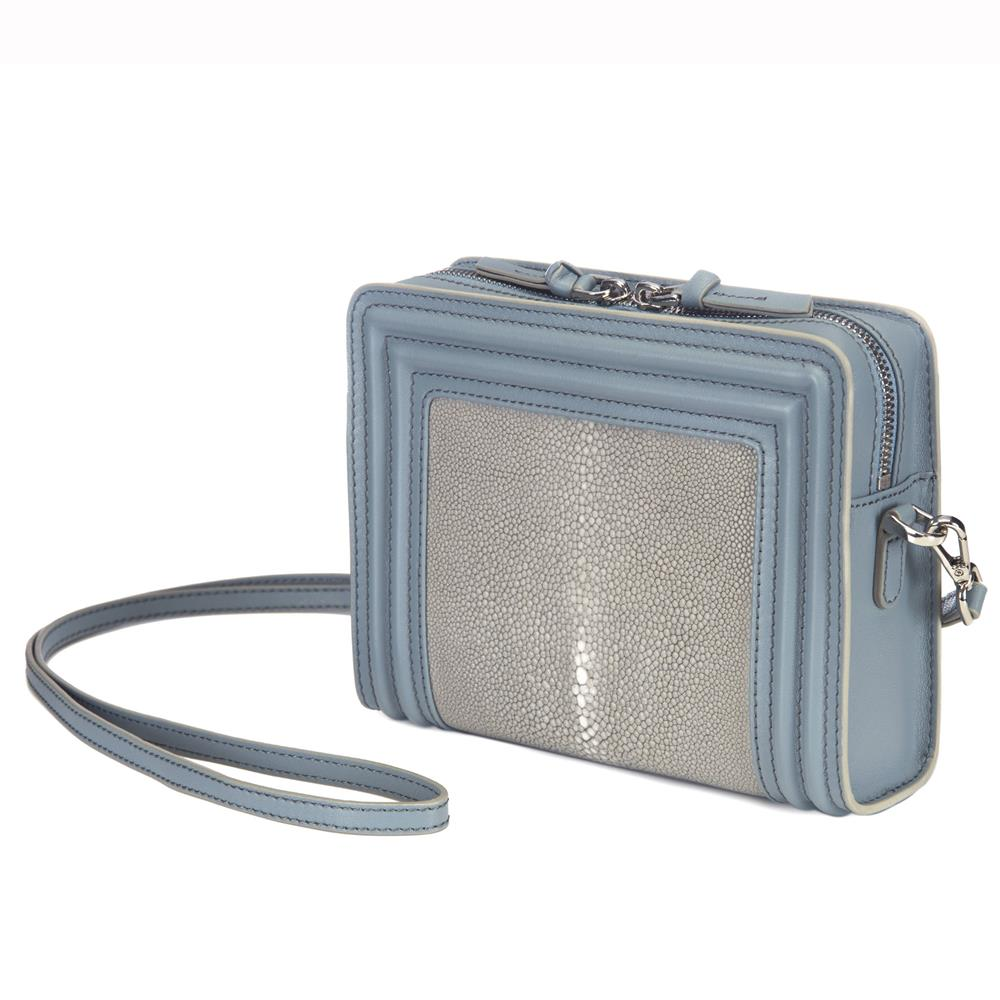Gary Blue Corded Leather Frames Cement Stingray Double Zipper Top Cross Body Bag Front View Nora - Vivo Direct