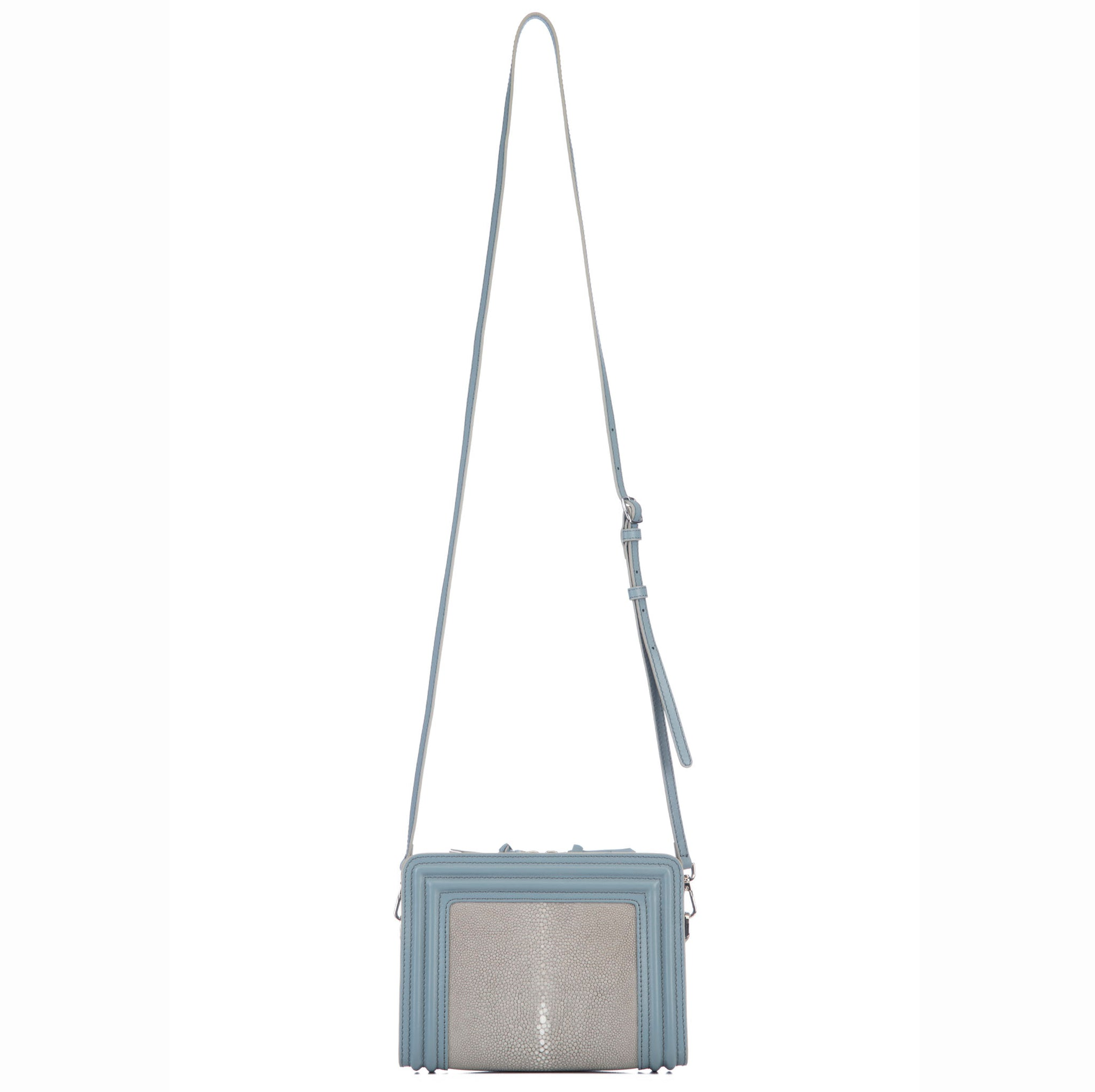 Gray Blue Corded Leather Frames Cement Stingray Double Zipper Top Cross Body BagShoulder Strap View Nora - Vivo Direct