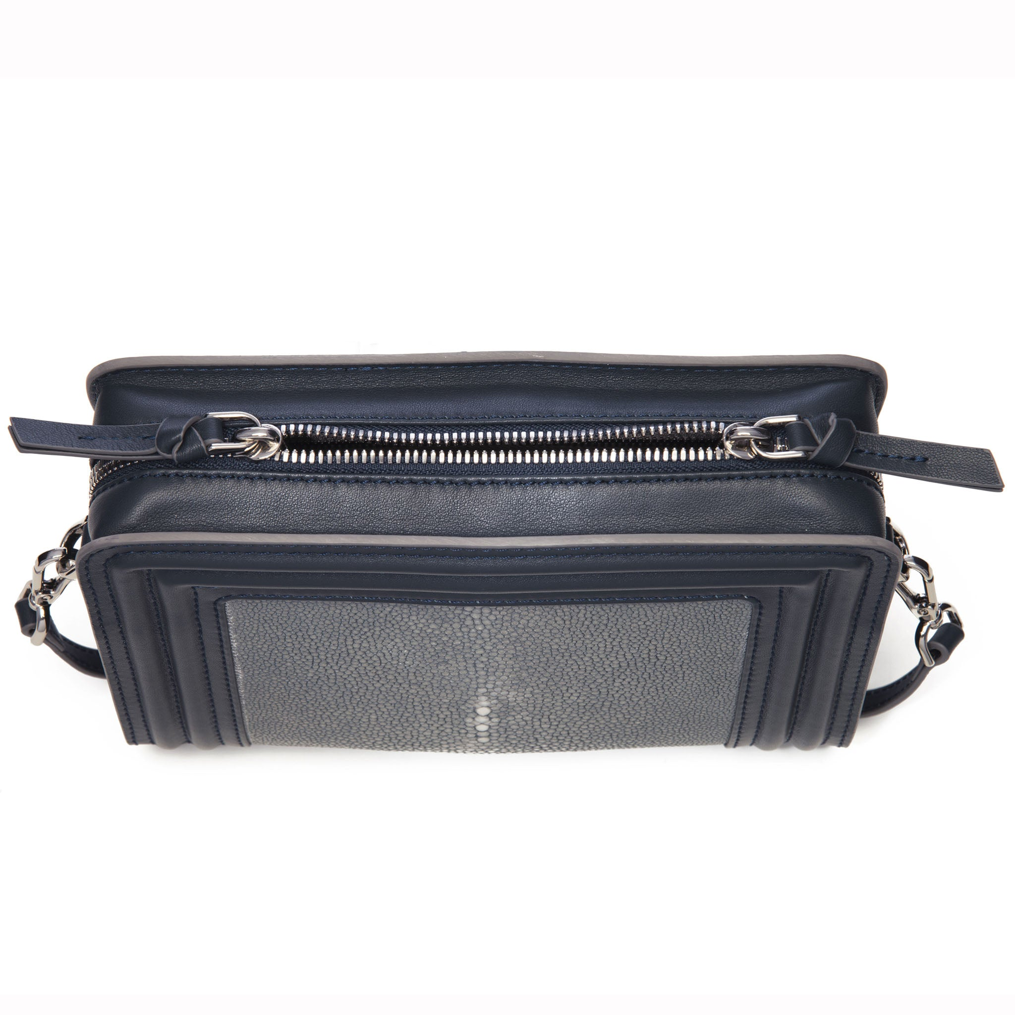 Gray Corded Leather Frames Gray Stingray Double Zipper Top Cross Body Bag Top View Nora - Vivo Direct