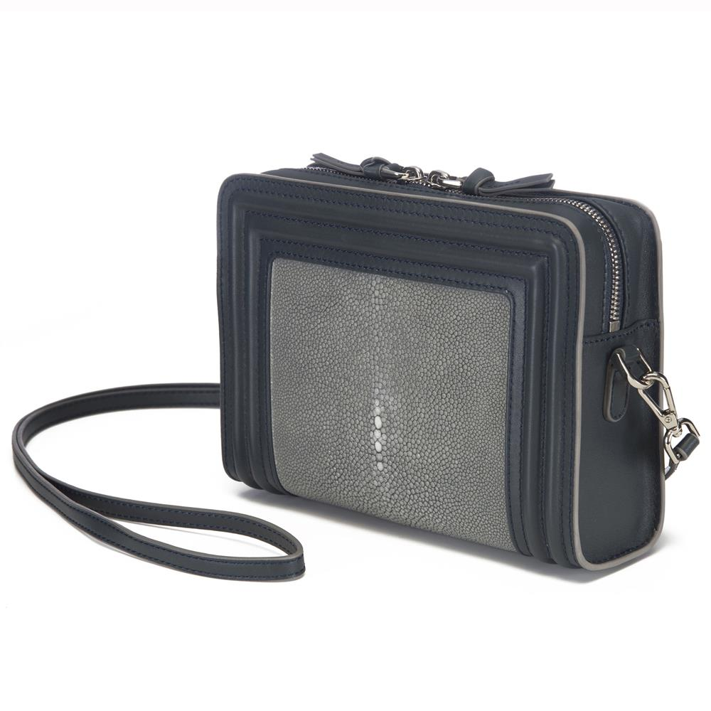 Gray Corded Leather Frames Gray Stingray Double Zipper Top Cross Body Bag Front View Nora - Vivo Direct