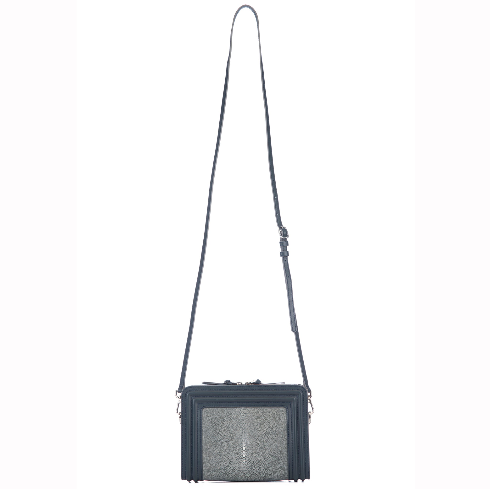 Gray Corded Leather Frames Gray Stingray Double Zipper Top Cross Body Bag Shoulder Strap View Nora - Vivo Direct