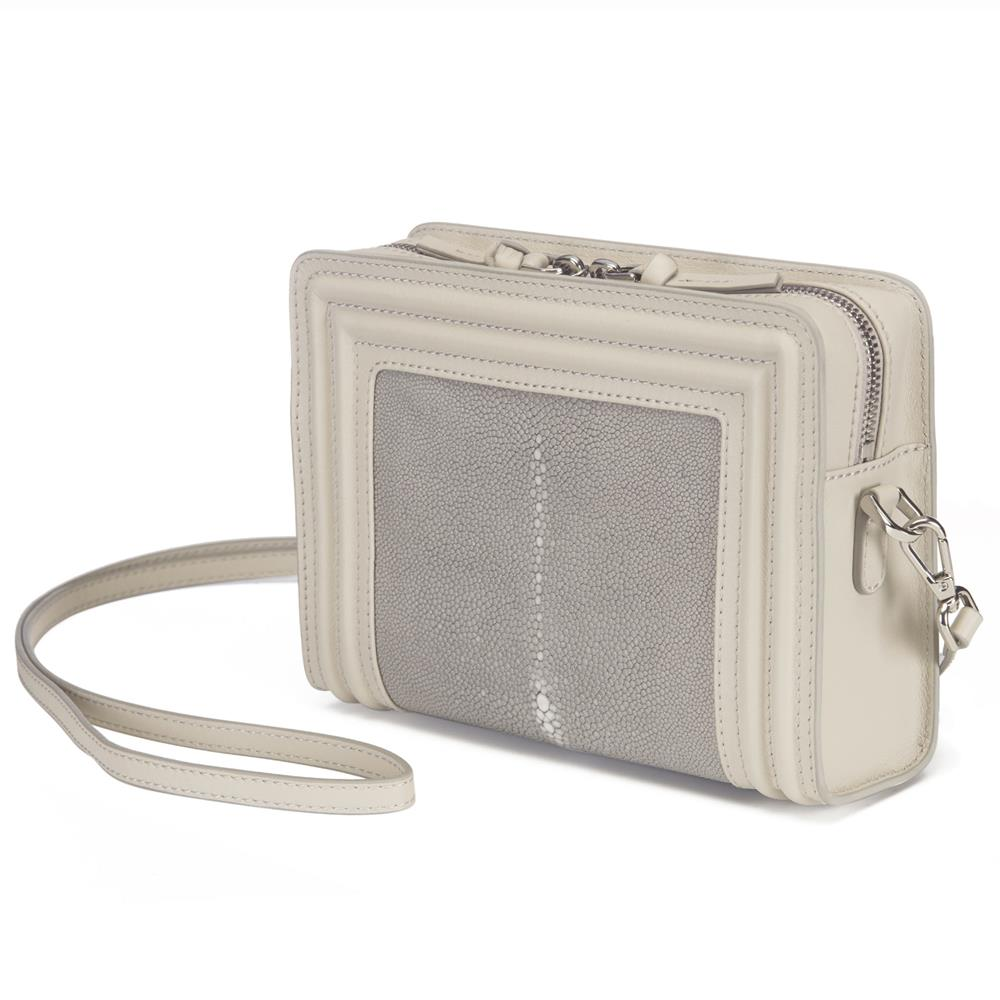 Ecru Corded Leather Frames Cement  Stingray Double Zipper Top Cross Body Bag Front View Nora - Vivo Direct