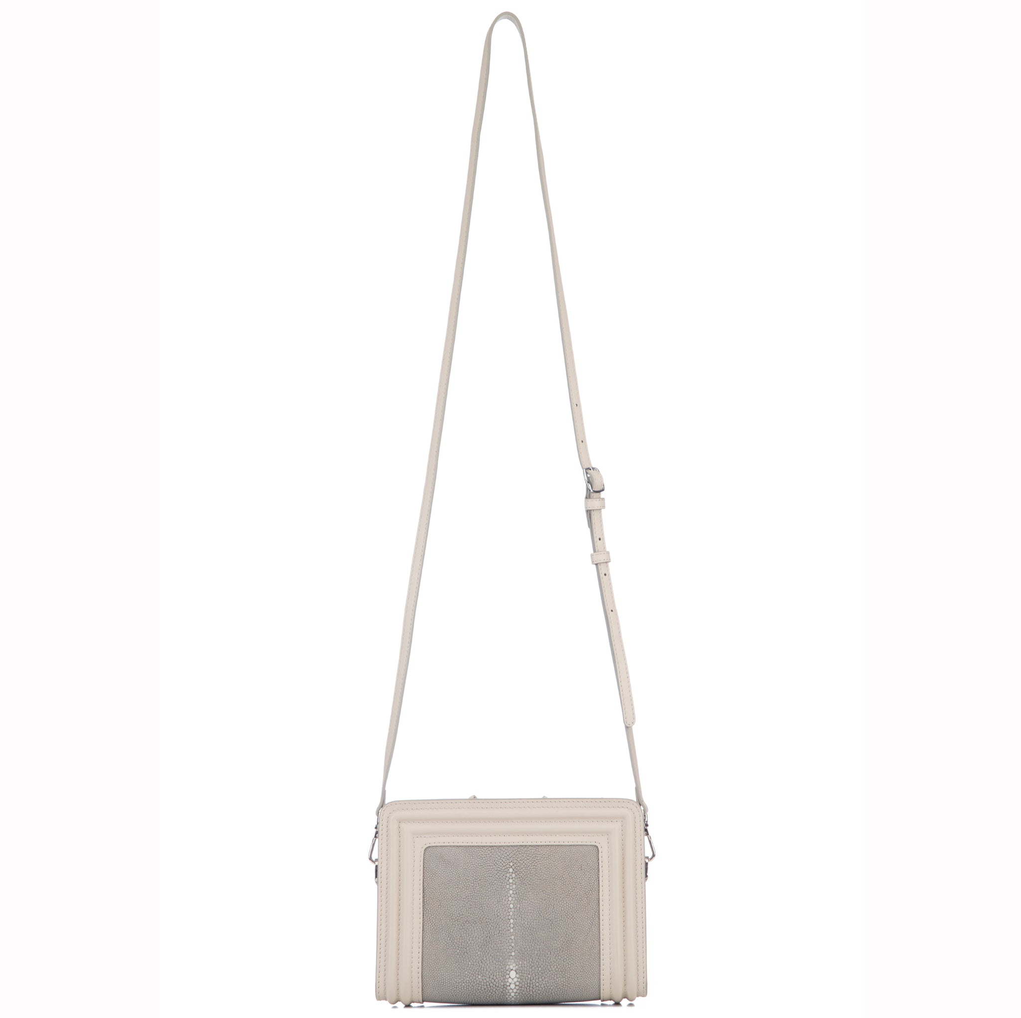 Ecru Corded Leather Frames Cement  Stingray Double Zipper Top Cross Body Bag Shoulder Strap View Nora - Vivo Direct