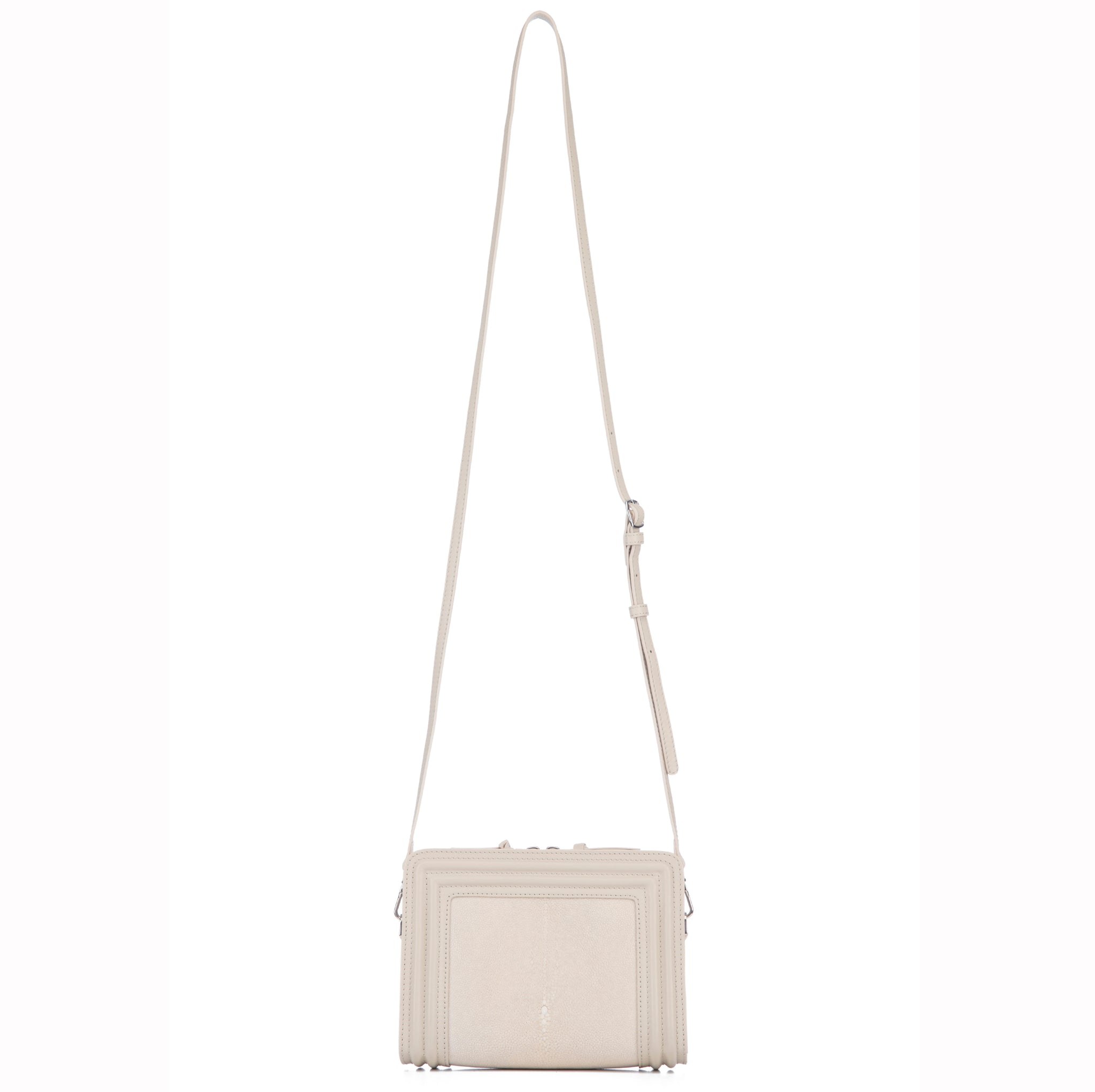 Ecru Corded Leather Frames Wheat Stingray Double Zipper Top Cross Body Bag Shoulder Strap View Nora - Vivo Direct
