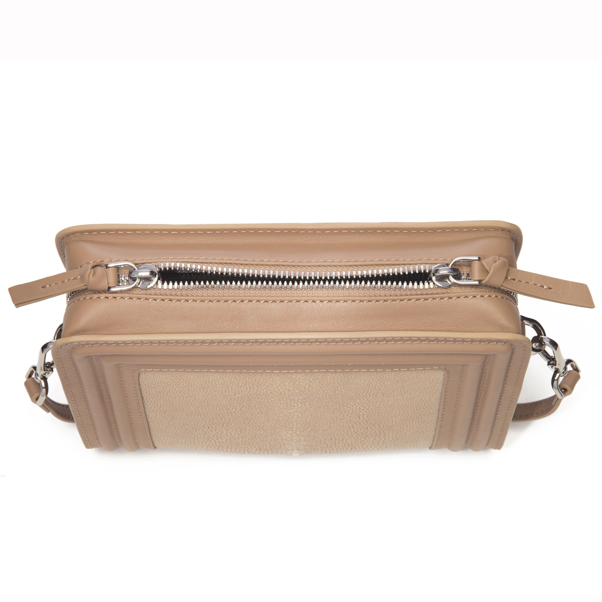 Tan Corded Leather Frames Putty Stingray Double Zipper Top Cross Body Bag Top View Nora - Vivo Direct