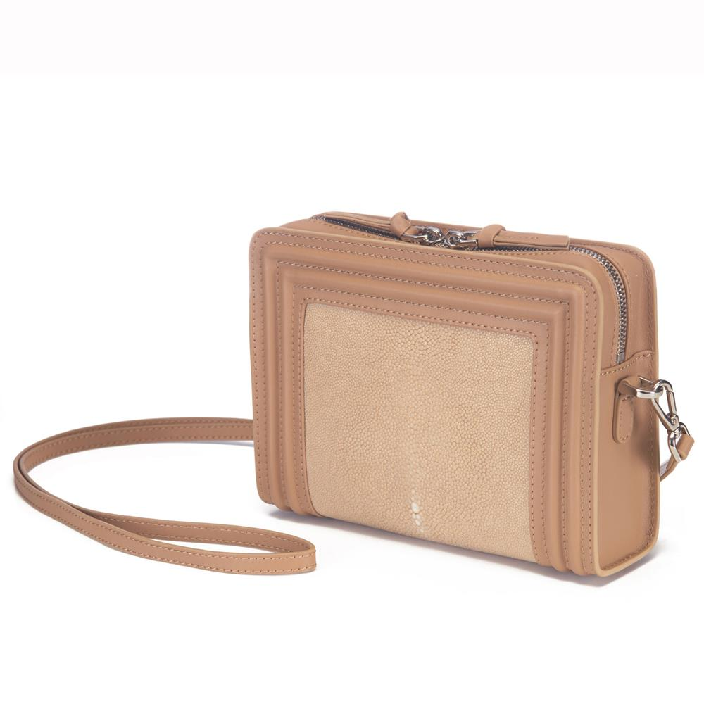 Tan Corded Leather Frames Putty Stingray Double Zipper Top Cross Body Bag Front View Nora - Vivo Direct