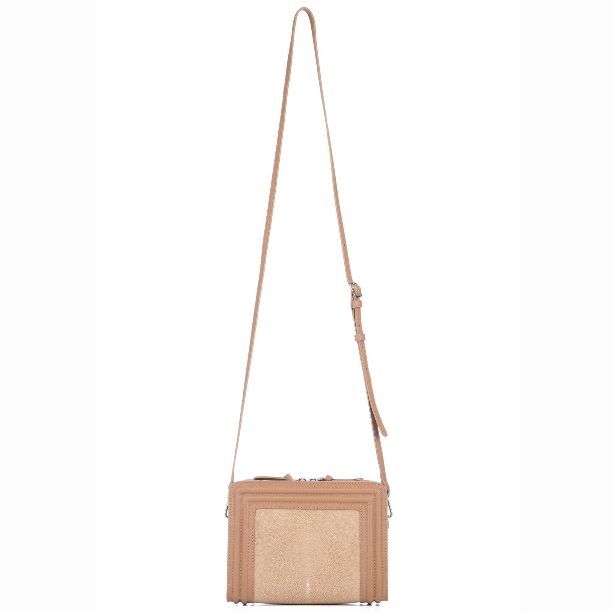 Tan Corded Leather Frames Putty Stingray Double Zipper Top Cross Body Bag Shoulder Strap View Nora - Vivo Direct