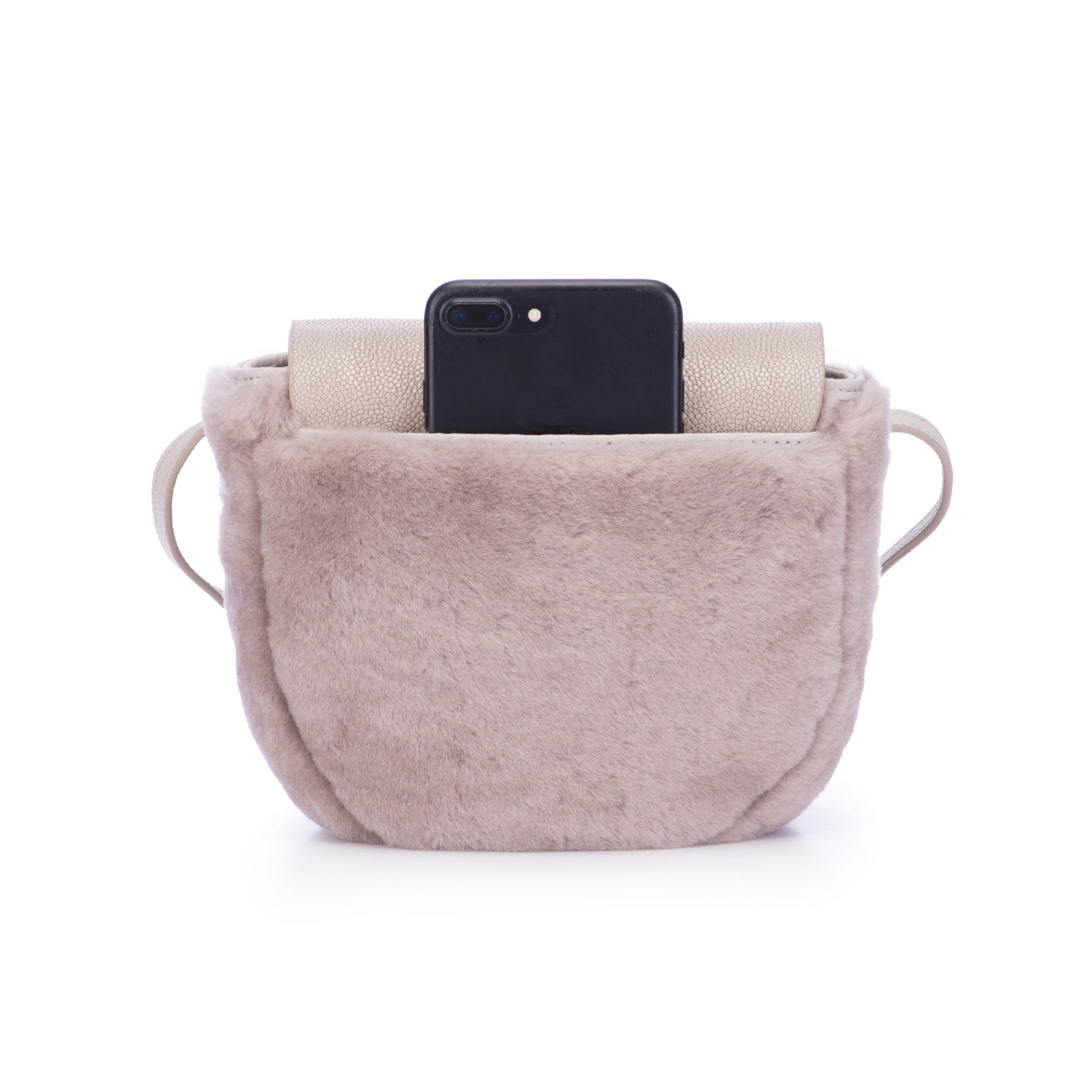 Light Gray Shearling And Cement Shagreen Front Cross Body Bag With Tassel Back View Brooke - Vivo Direct