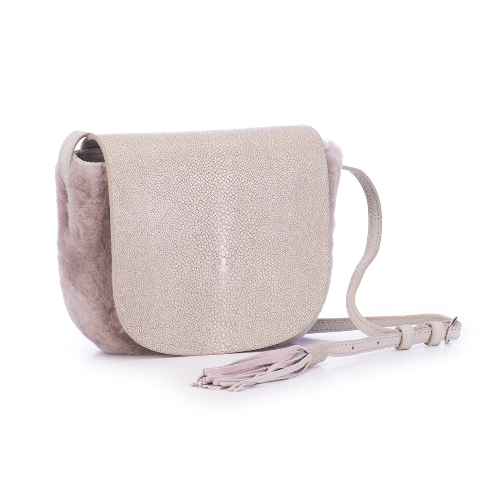 Light Gray Shearling And Cement Shagreen Front Cross Body Bag With Tassel Front View Brooke - Vivo Direct