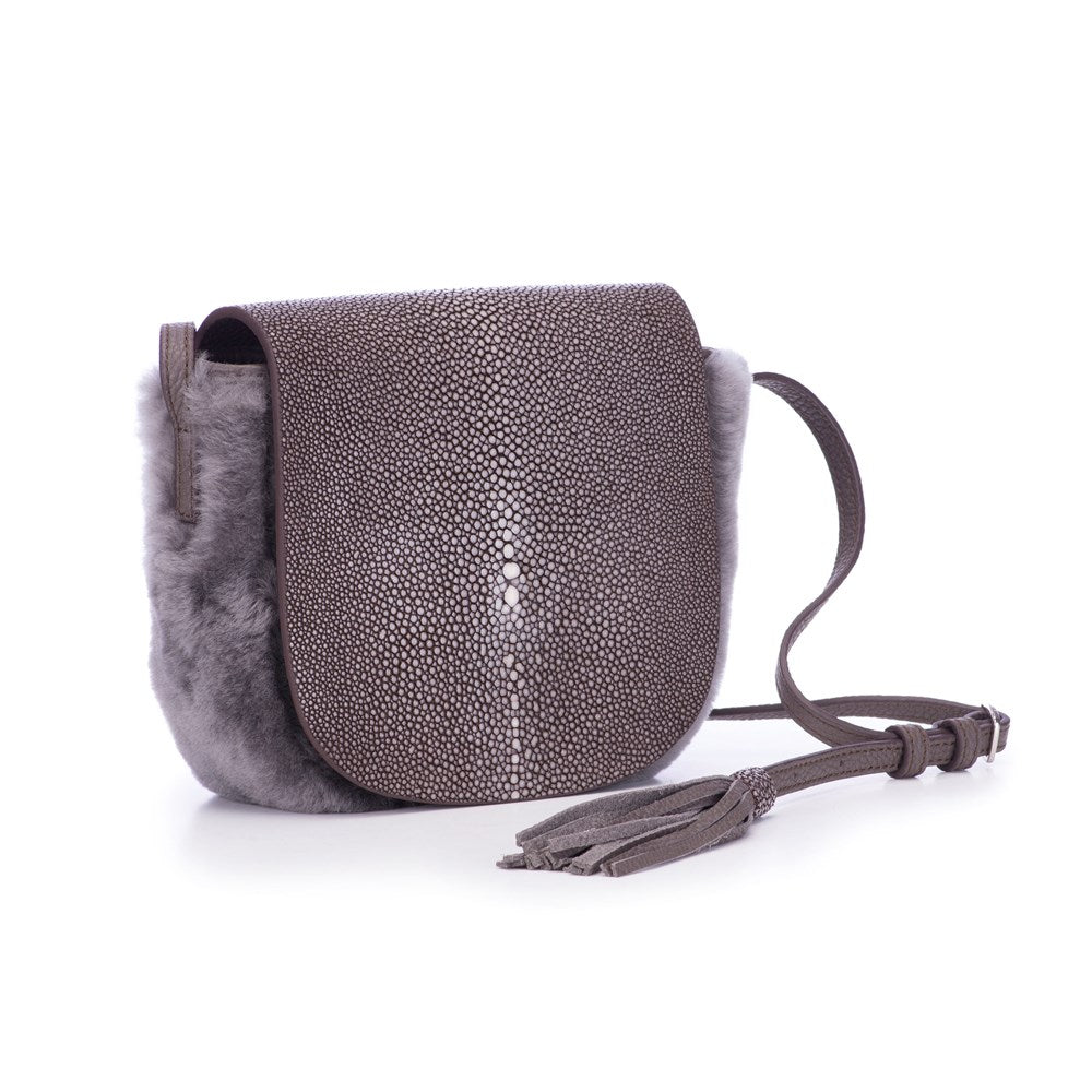Warm Gray Shearling And Coffee Shagreen Front Cross Body Bag With Tassel Front View Brooke - Vivo Direct