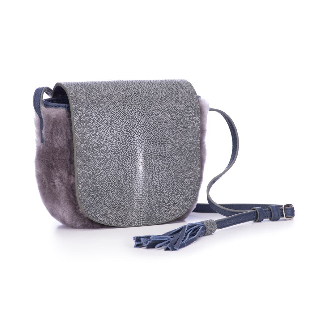 Gray Shearling And Gray  Shagreen Front Cross Body Bag With Tassel Front View Brooke - Vivo Direct