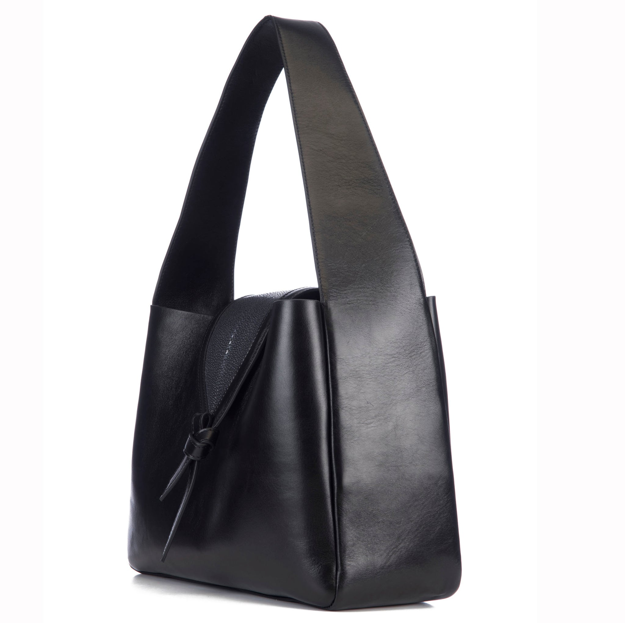 Eve Black Leather Shoulder Tote With Black Shagreen Flap And Leather Knot Detail Side View - Vivo Direct