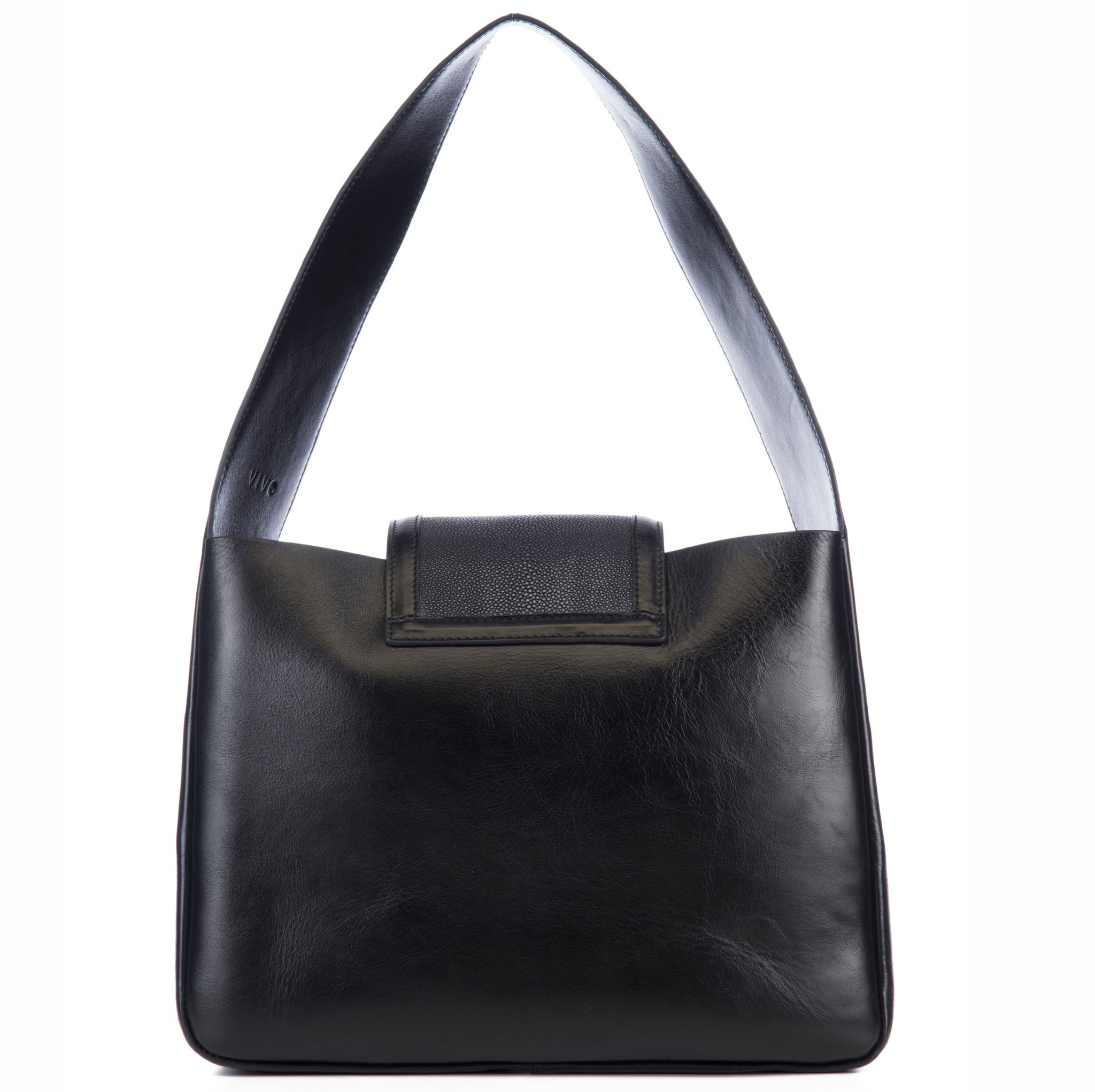 Eve Black Leather Shoulder Tote With Black Shagreen Flap And Leather Knot Detail Back View - Vivo Direct