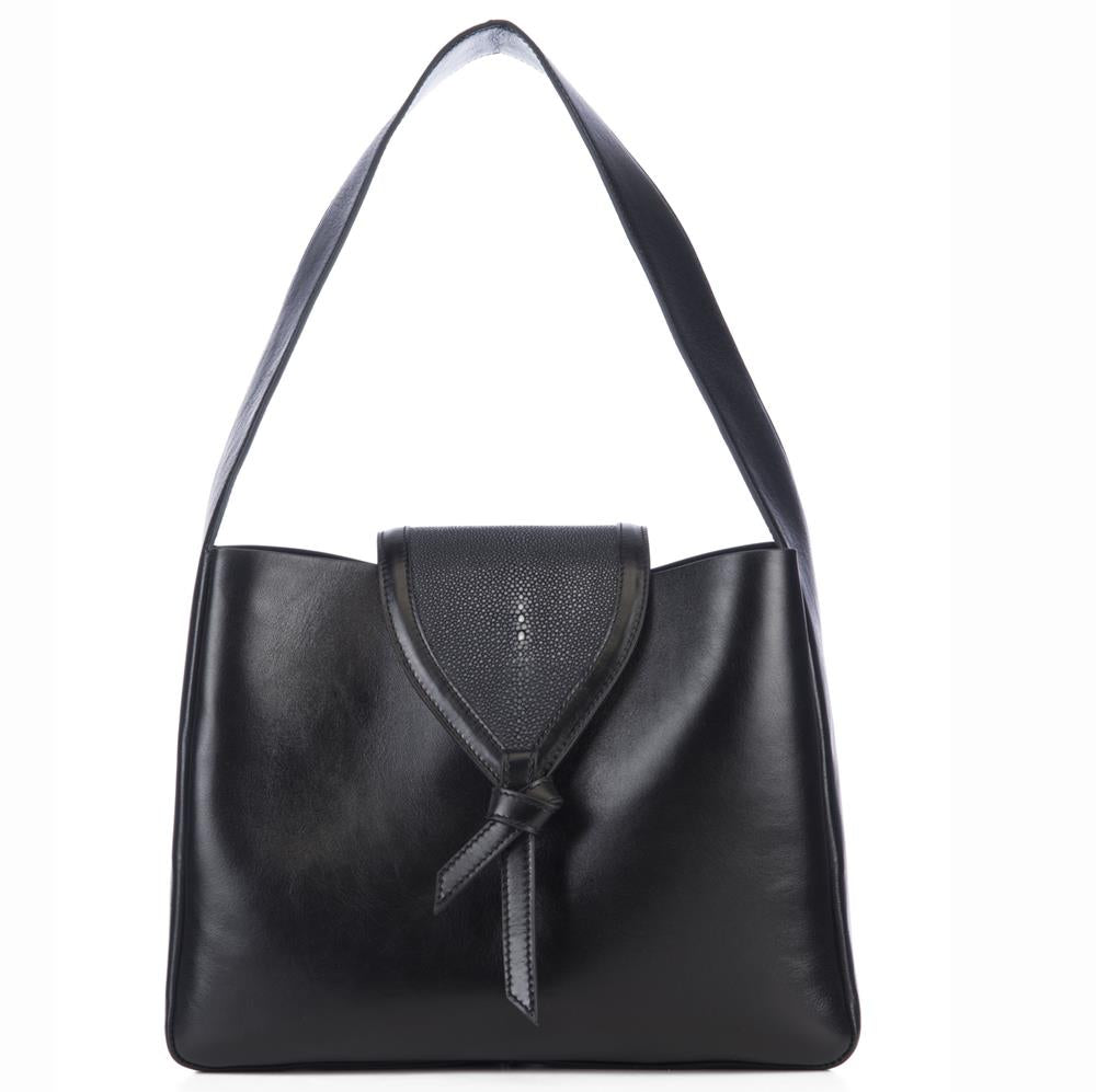 Eve Black Leather Shoulder Tote With Black Shagreen Flap And Leather Knot Detail Front View - Vivo Direct
