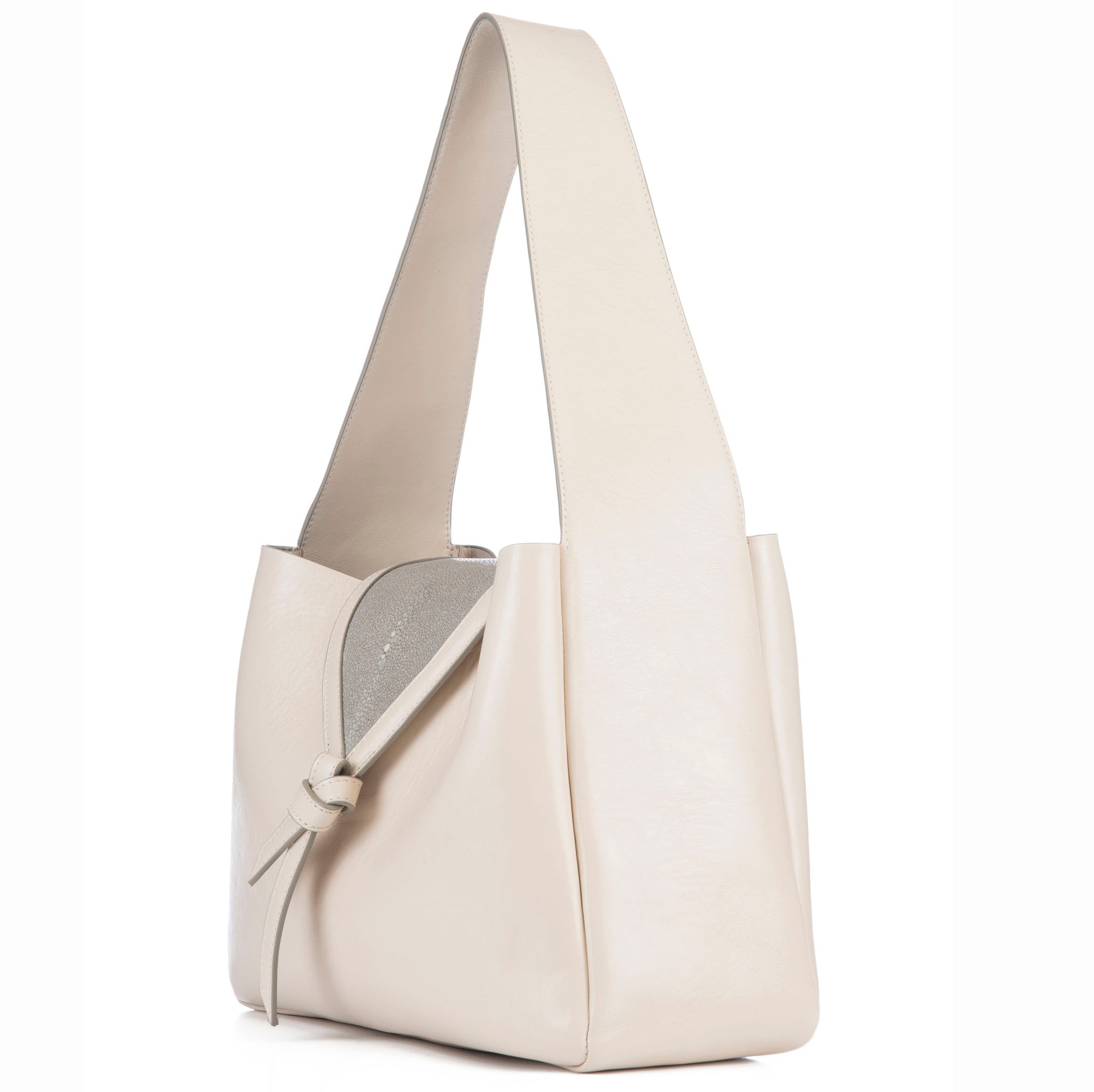 Eve Ivory Leather Shoulder Tote With Cement Shagreen Flap And Leather Knot Detail Side View - Vivo Direct