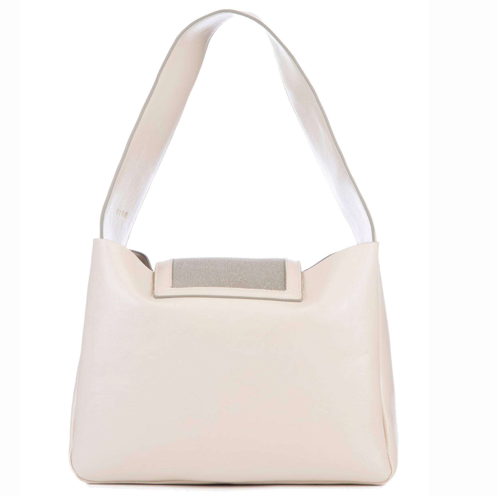 Eve Ivory Leather Shoulder Tote With Cement Shagreen Flap And Leather Knot Detail Back View - Vivo Direct
