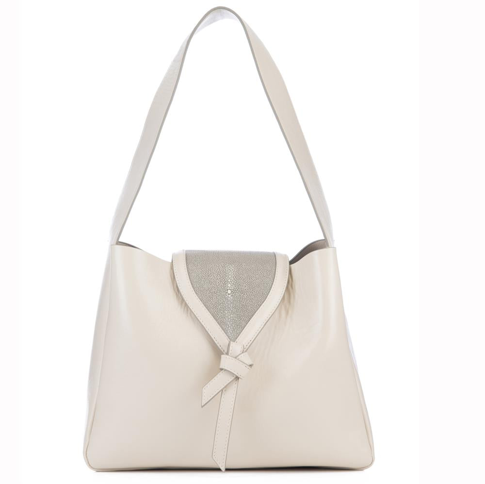 Eve Ivory Leather Shoulder Tote With Cement Shagreen Flap And Leather Knot Detail Front View - Vivo Direct