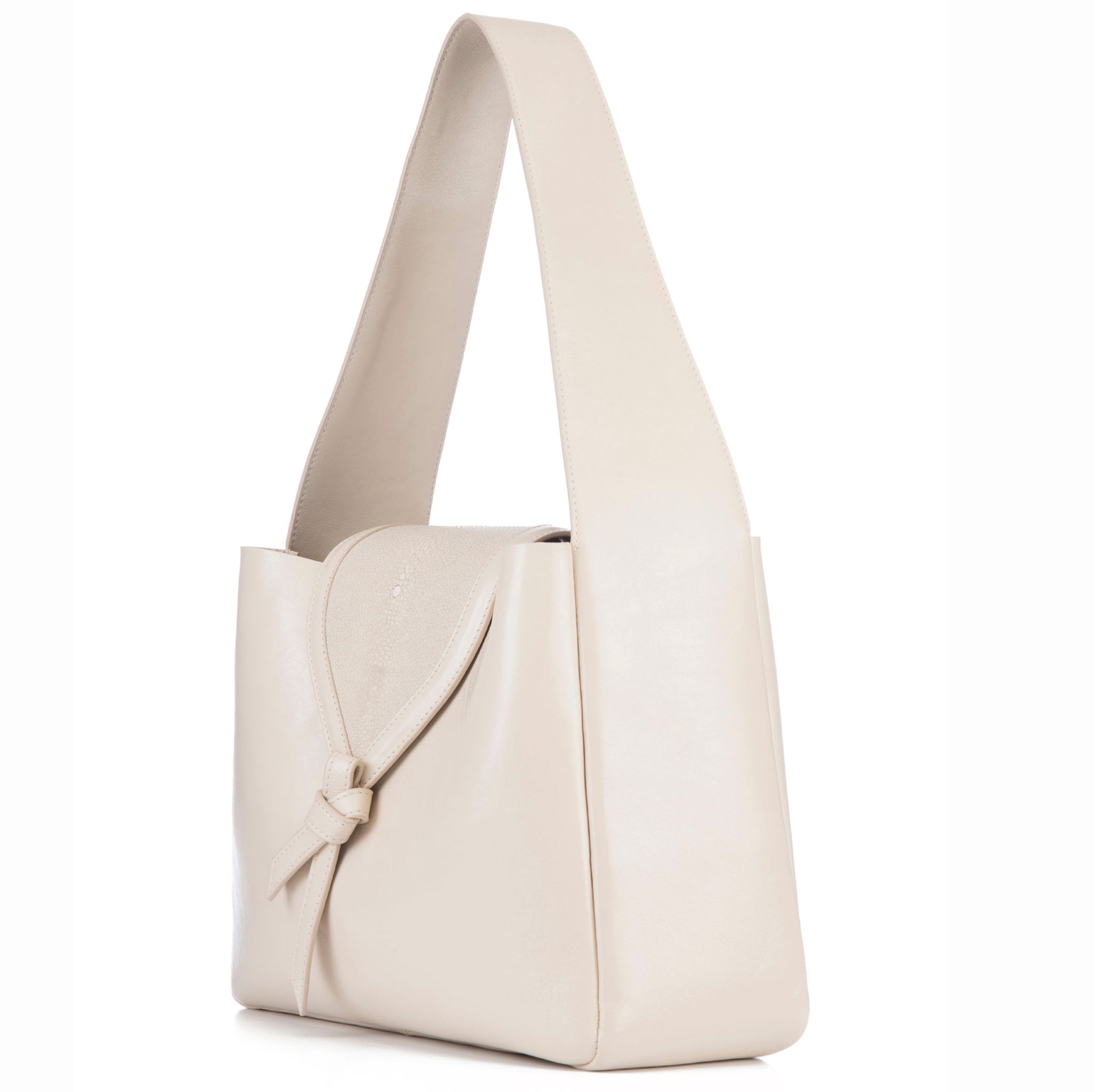 Eve Ivory Leather Shoulder Tote With Wheat Shagreen Flap And Leather Knot Detail Side View - Vivo Direct