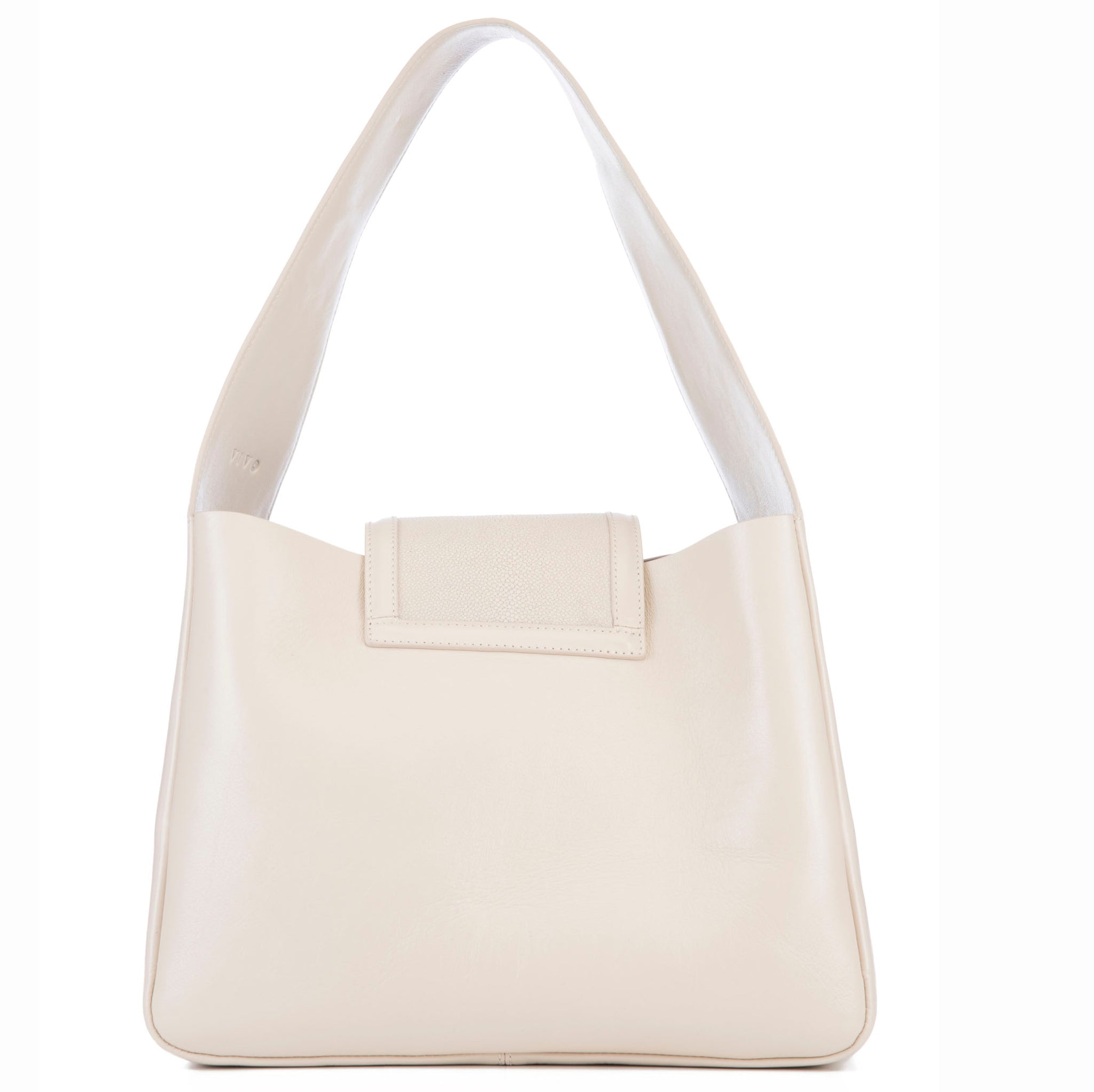 Eve Ivory Leather Shoulder Tote With Wheat Shagreen Flap And Leather Knot Detail Back View - Vivo Direct