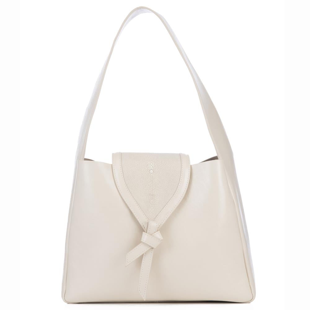 Eve Ivory Leather Shoulder Tote With Wheat Shagreen Flap And Leather Knot Detail Front View - Vivo Direct