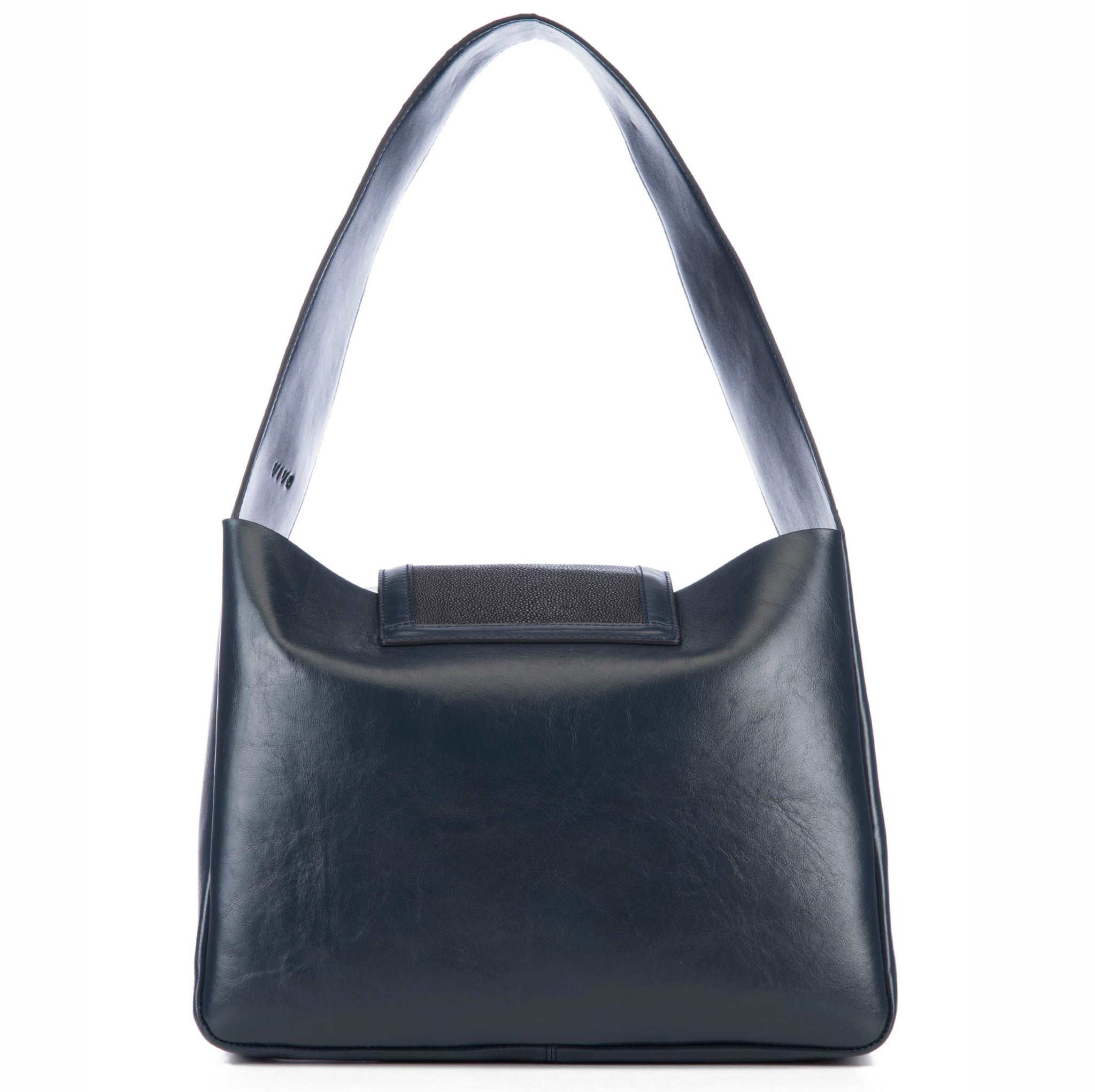 Eve Navy Leather Shoulder Tote With Black Shagreen Flap And Leather Knot Detail Back View - Vivo Direct