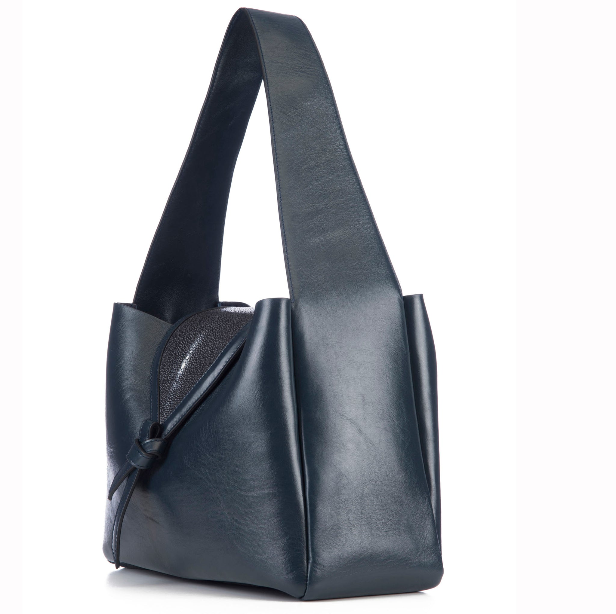 Eve Navy Leather Shoulder Tote With Black Shagreen Flap And Leather Knot Detail Side View - Vivo Direct