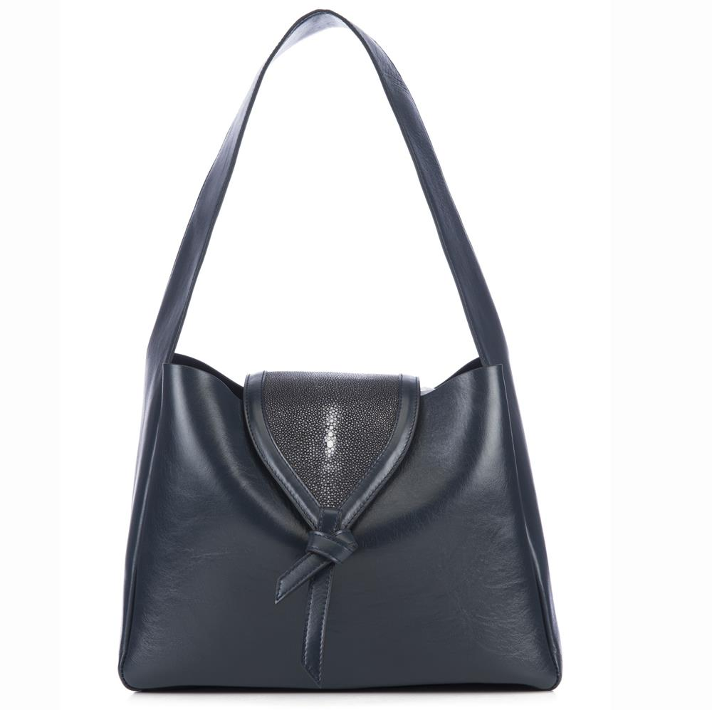 Eve Navy Leather Shoulder Tote With Black Shagreen Flap And Leather Knot Detail Front View - Vivo Direct