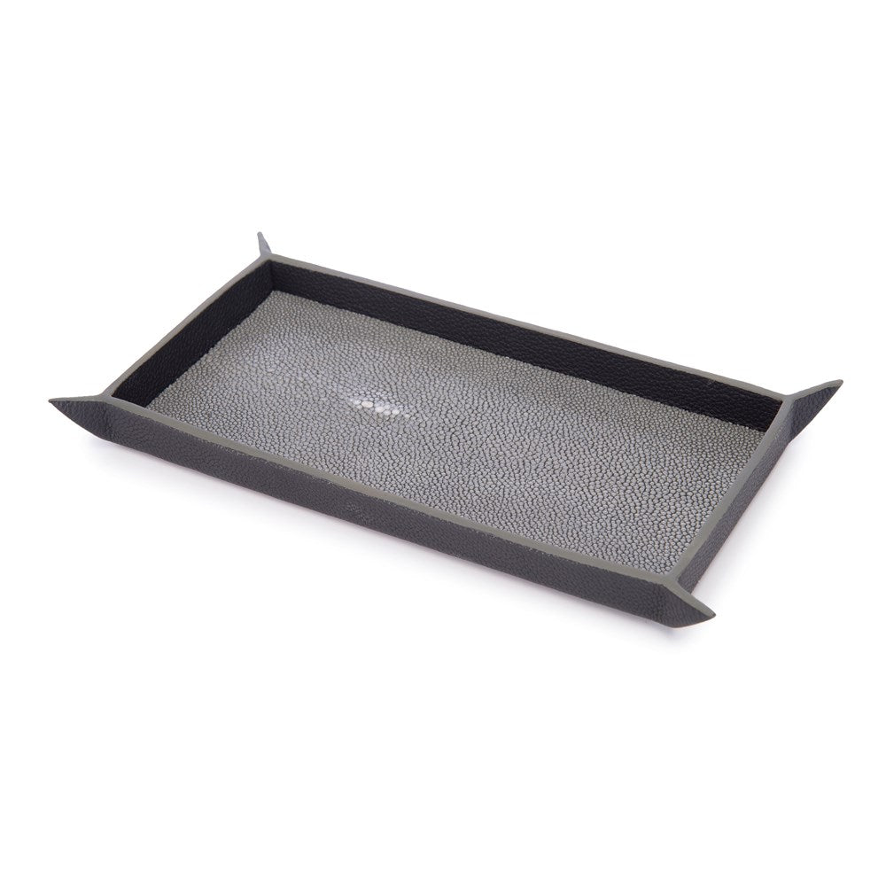 Leather Valet Tray Shagreen Lininf