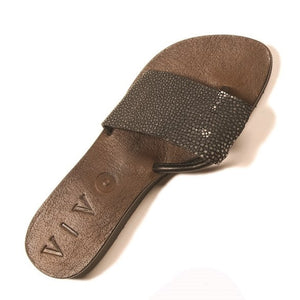 Ginger Shagreen Sandal- Black