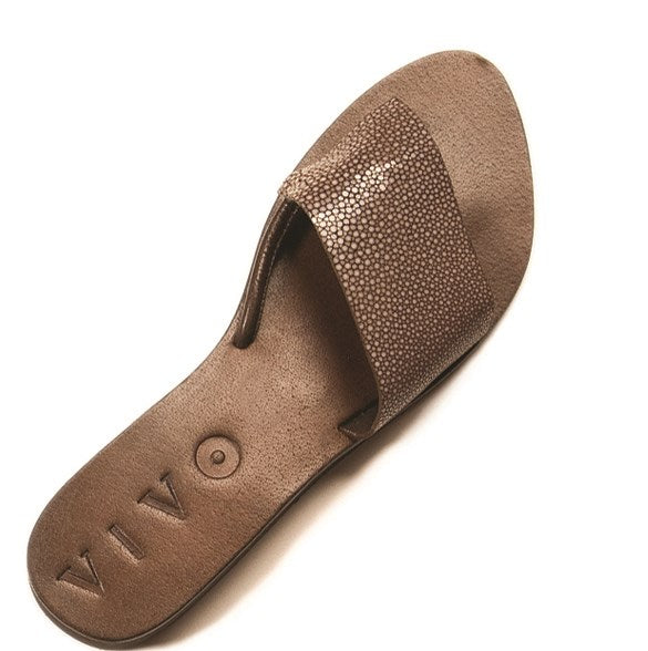 Ginger Shagreen Sandal - Brown