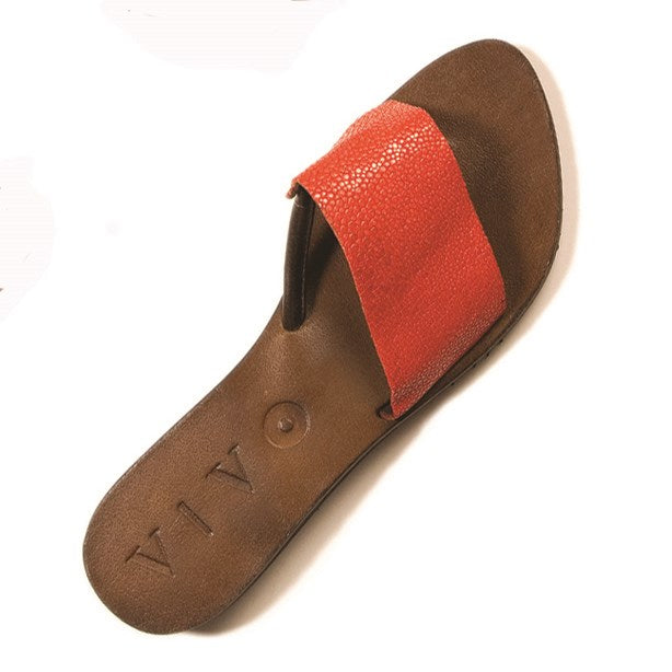 Ginger Shagreen Sandal- Poppy