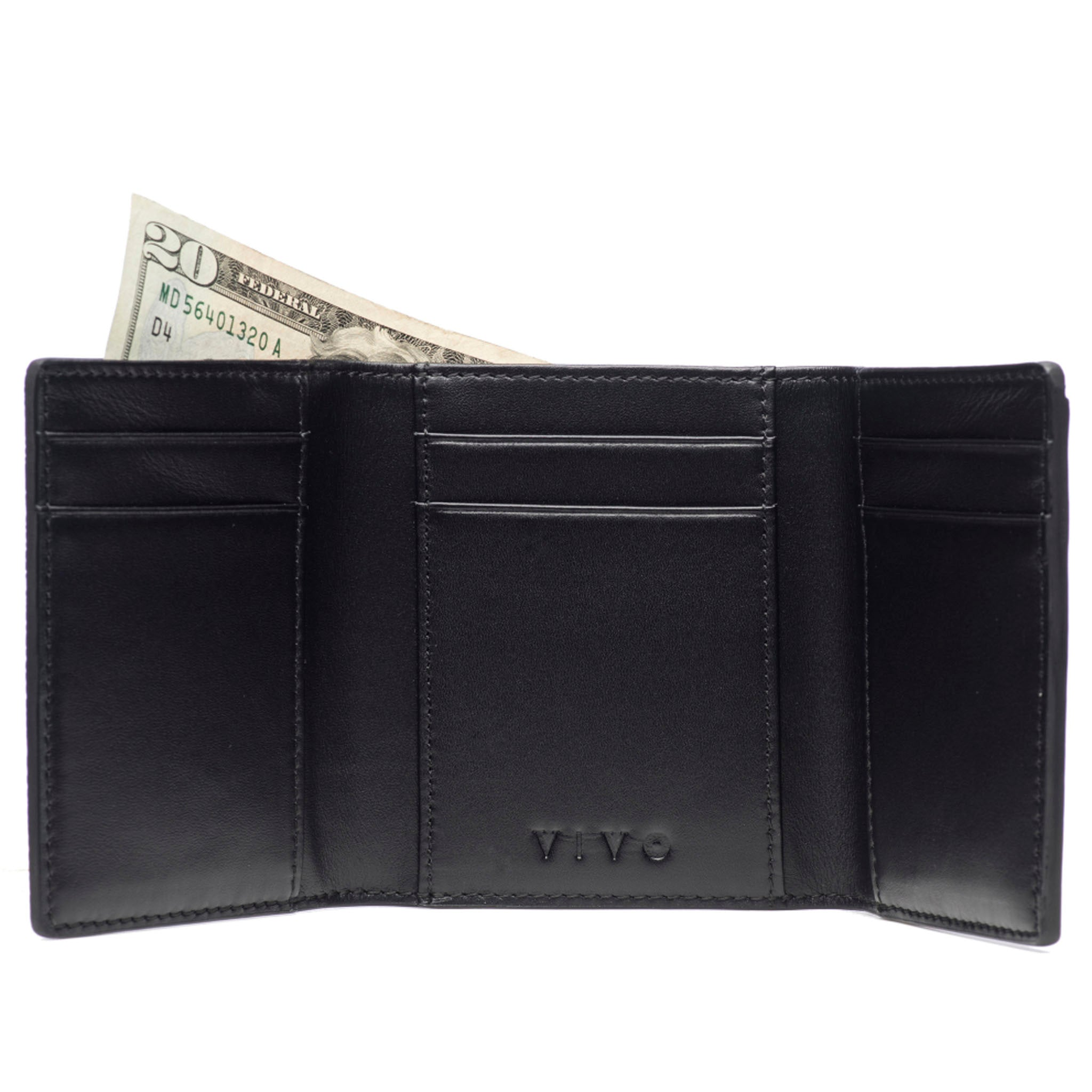 Black Shagreen Tri-Fold Wallet Leather Interior Open View Evan - Vivo Studios