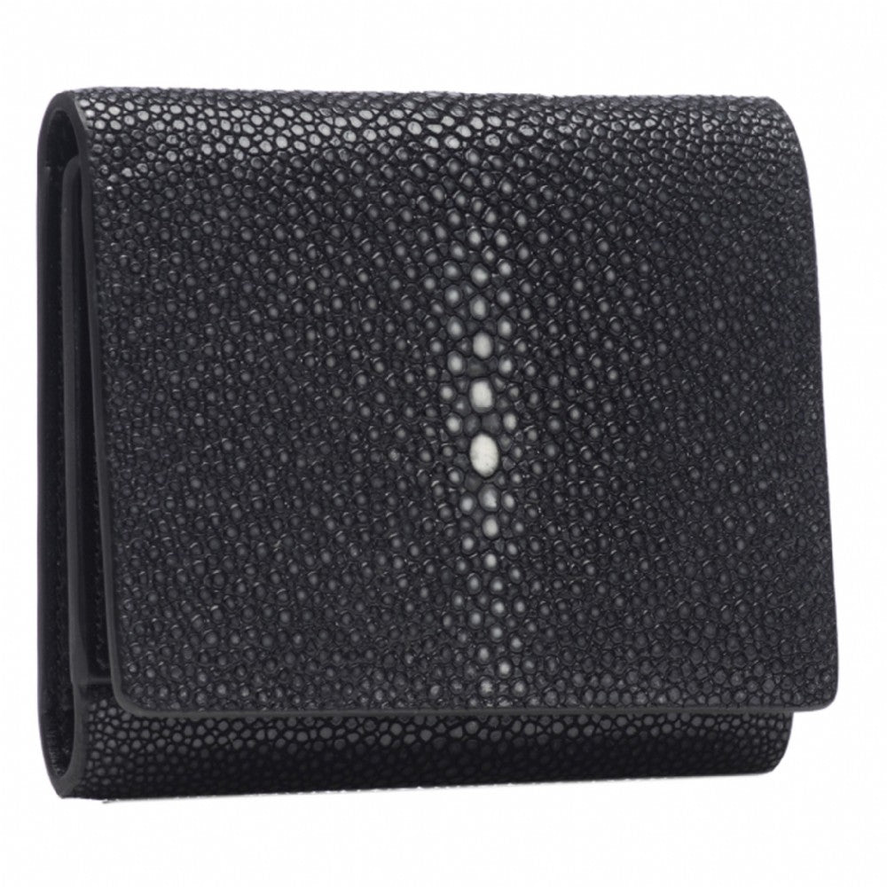 Black Shagreen Tri-Fold Wallet Leather Interior Front View Evan - Vivo Studios