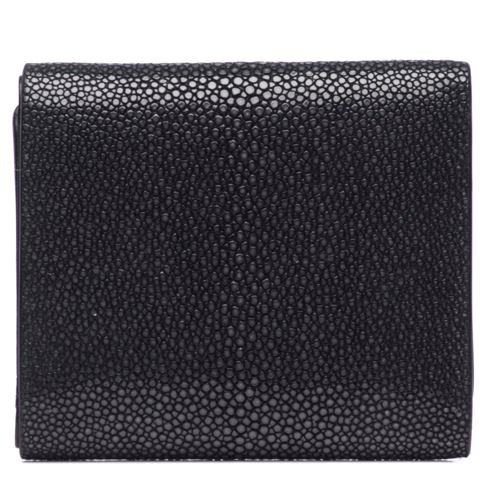 Black Shagreen Tri-Fold Wallet Leather Interior Back View Evan - Vivo Studios