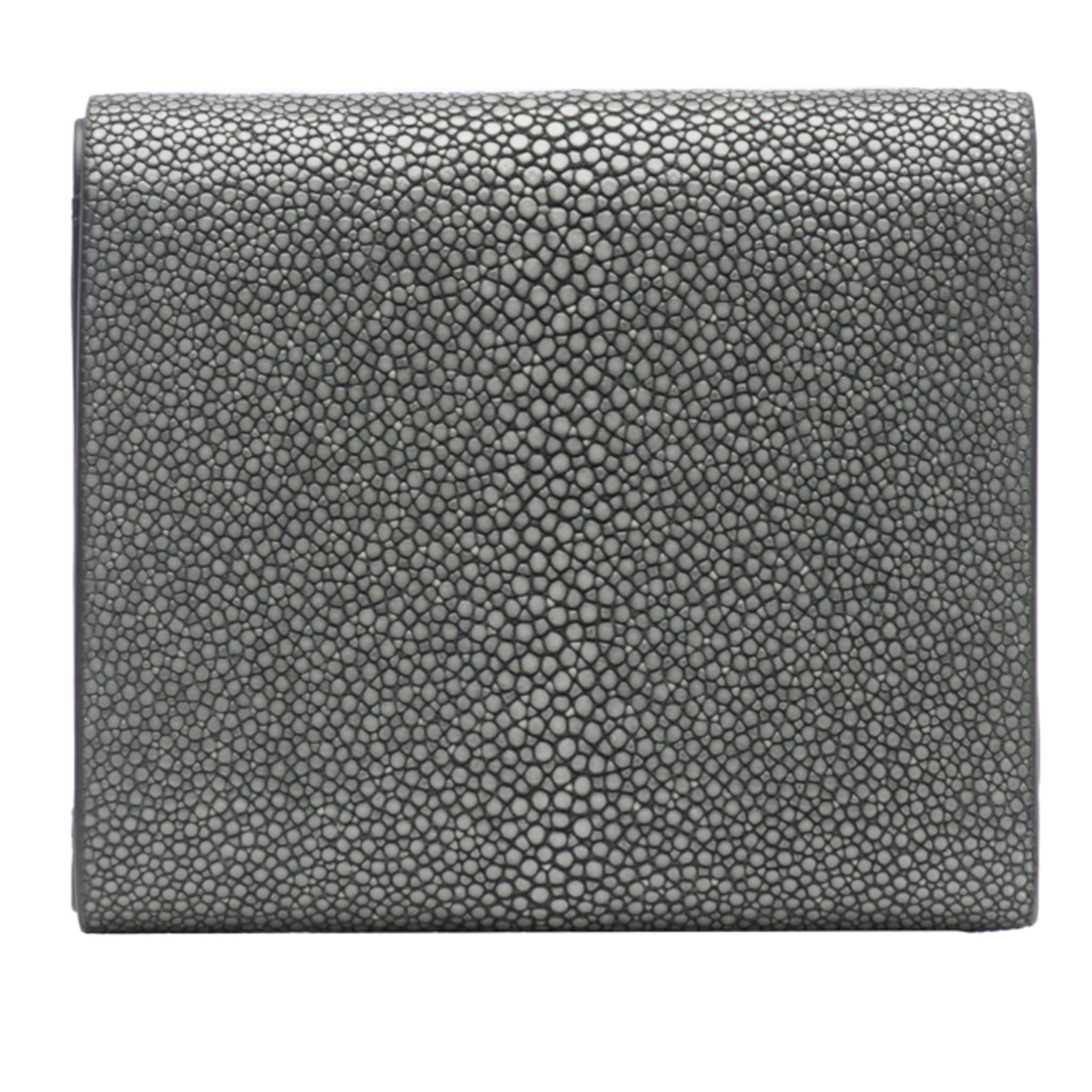 Gray Shagreen Tri-Fold Wallet Leather Interior Back View Evan - Vivo Studios