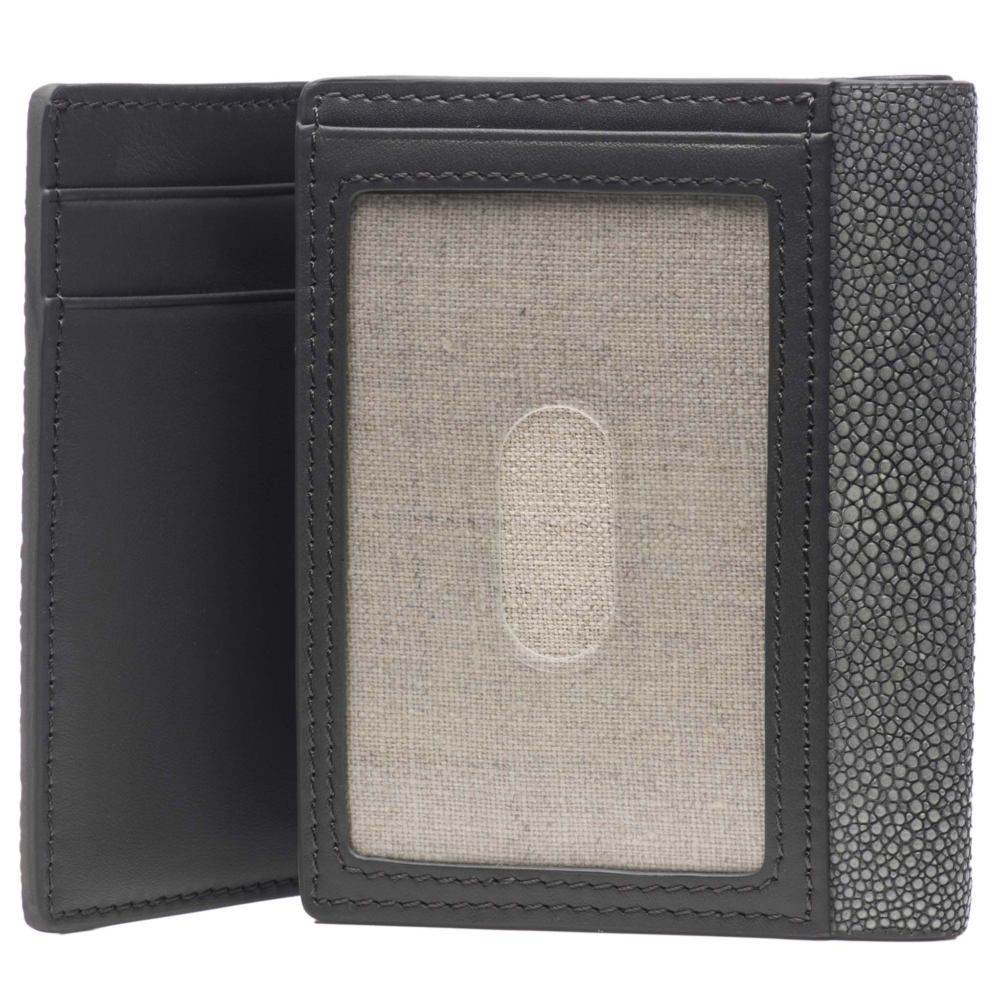 Gray Shagreen Tri-Fold Wallet Leather Interior Inside ID  View Evan - Vivo Studios