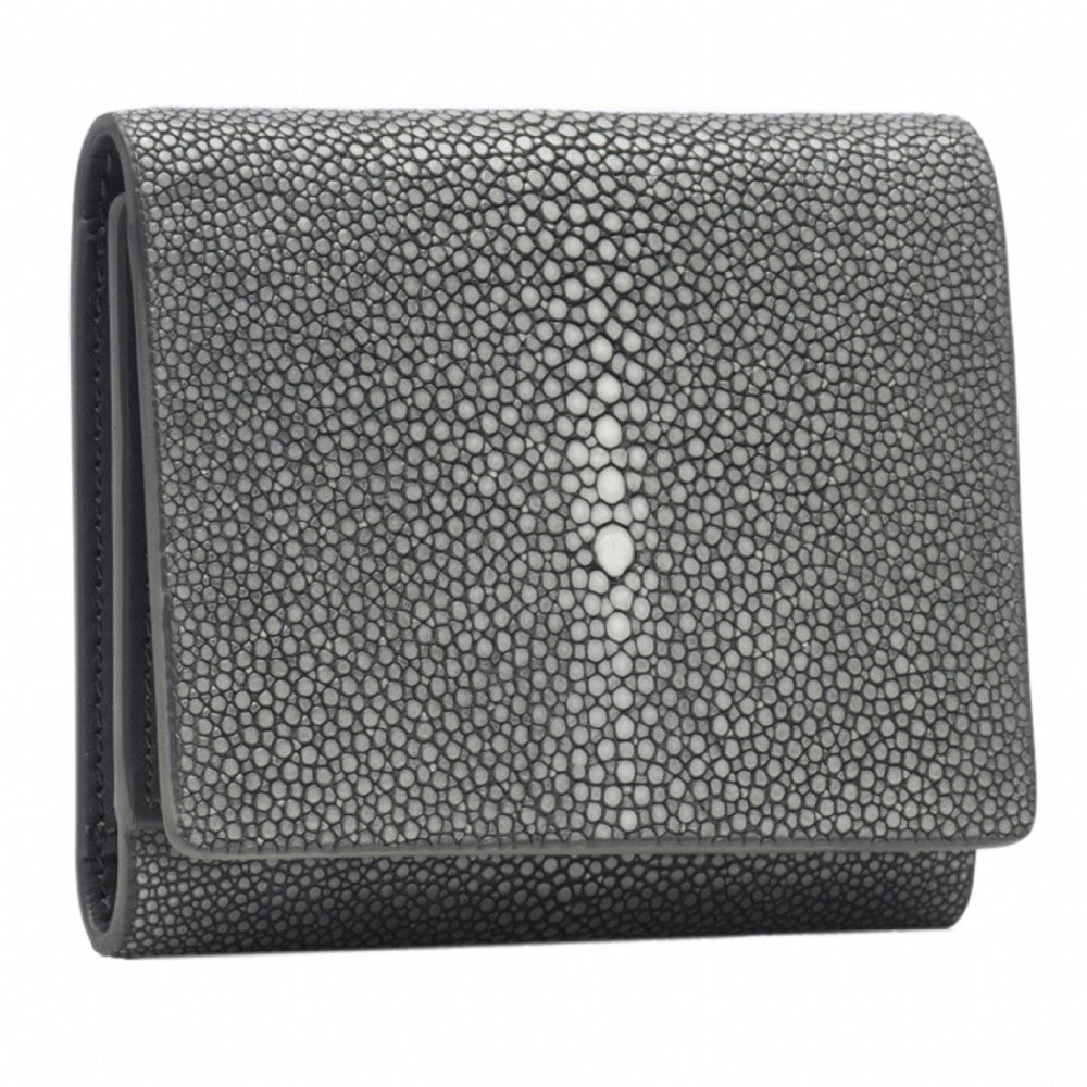 Gray Shagreen Tri-Fold Wallet Leather Interior Front View Evan - Vivo Studios