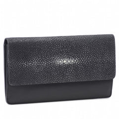 Maya- Shagreen and Napa leather zip back wallet or clutch-Black
