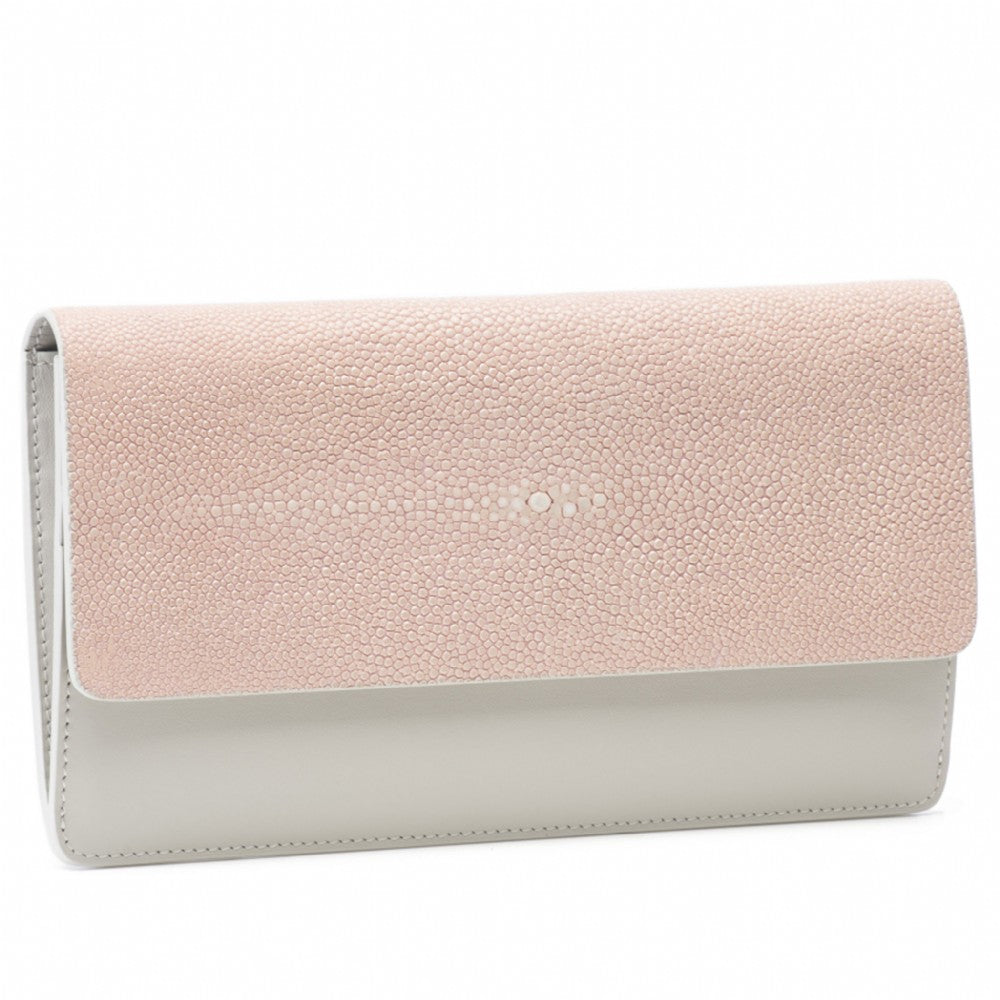 Blush Shagreen Fold Front Wallet Clutch Zipper Back Maya Front View -Vivo Direct