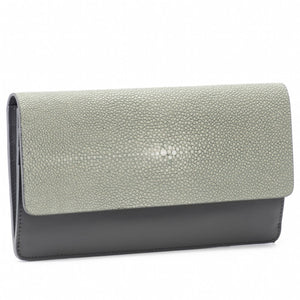 Maya- Shagreen and Napa leather zip back wallet or clutch-Cement