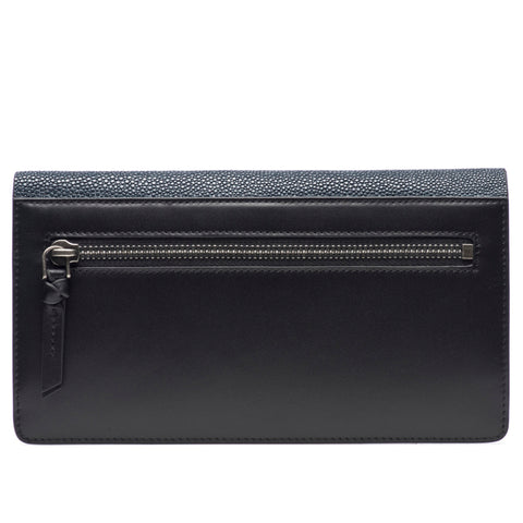 Maya- Shagreen and Napa leather zip back wallet or clutch-Navy