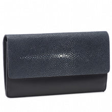 Load image into Gallery viewer, Navy Shagreen Fold Front Wallet Clutch Zipper Back Maya Front View -Vivo Direct