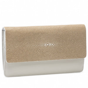 Putty Shagreen Fold Front Wallet Clutch Zipper Back Maya Front View -Vivo Direct