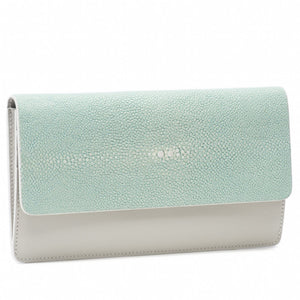 Sky Shagreen Fold Front Wallet Clutch Zipper Back Maya Front View -Vivo Direct