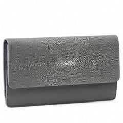 Maya- Shagreen and Napa leather zip back wallet or clutch-Gray