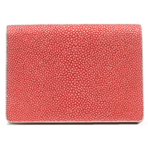 Taylor-Shagreen and Napa leather card case-Hibiscus