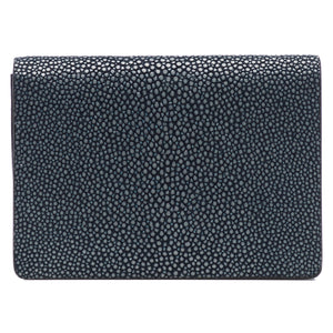 Taylor-Shagreen and Napa leather card case-Navy
