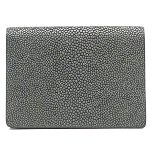 Taylor-Shagreen and Napa leather card case-Gray