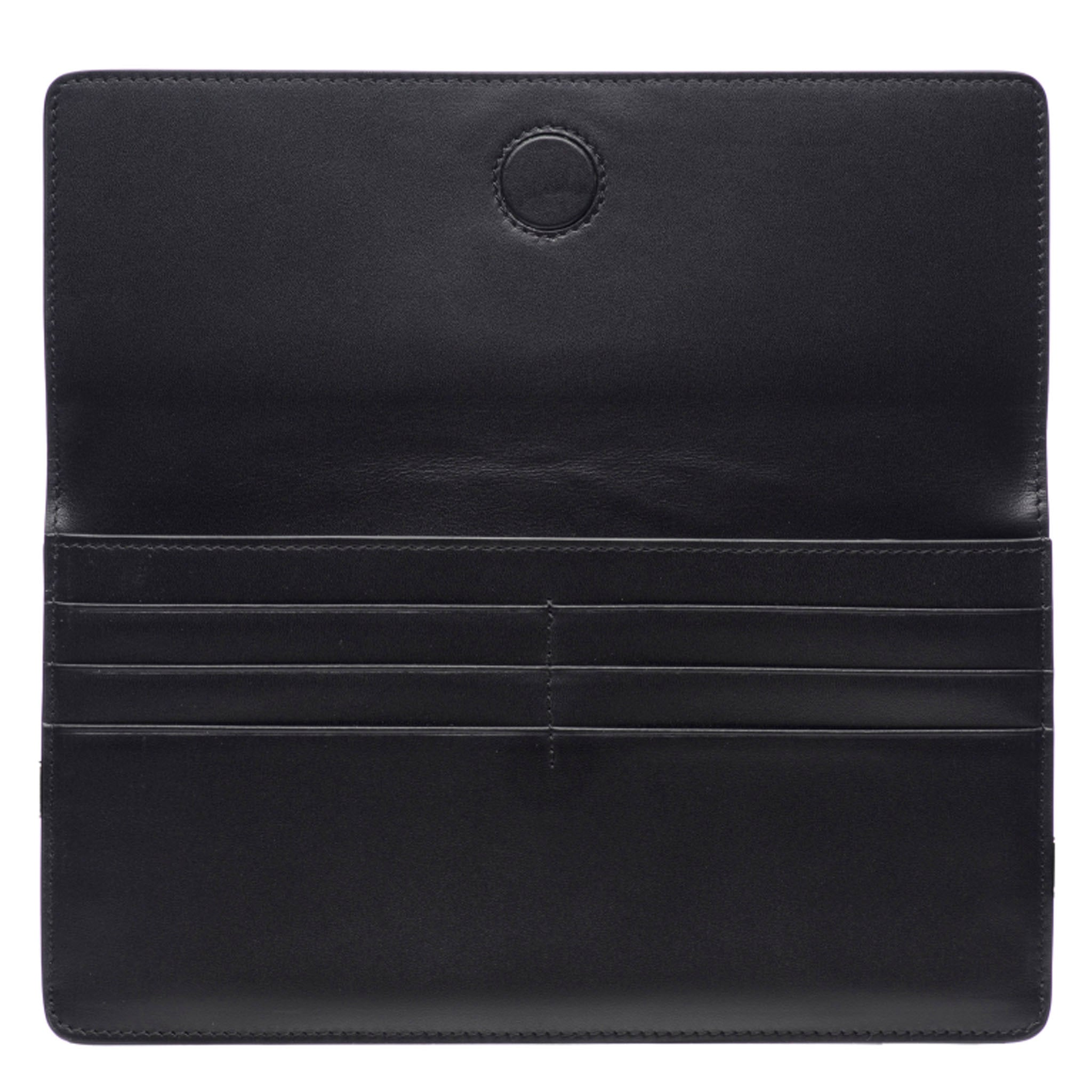 Black Shagreen Fold Front Wallet Clutch  Inside View Bea II -Vivo Direct